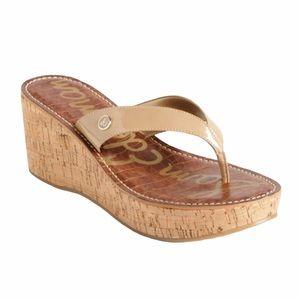 Sam Edelman Romy Cork Platform Sandals Tan 7.5